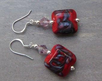 Lampwork Earrings Glass Artisan Earrings Red with Purple Swirls Glass Bead Earrings Dangle Drop Earrings With Swarovski Crystals SRAJD