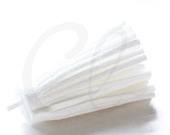 One Piece of Faux Suede - Velvet Cord - Tassels -  45x15mm - White (B8)