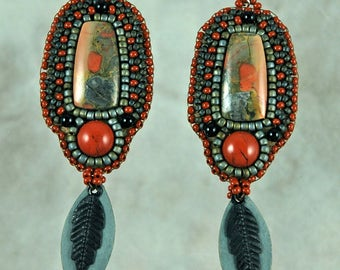 Earrings, bead embroidery, beaded, Red Jasper, Gray and black dangle earrings