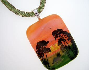 Running Horse Dichroic and Art Glass Multi-Layered Pendant Crystal Mesh Necklace