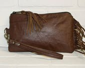 Special order for Alicia,  repurposed, brown leather clutch, wrist clutch, wristlet, phone wallet, fringe bag, upcycled, stacylynnc