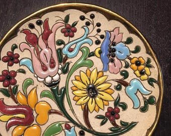 SPAIN - COLOFRUL Handmade Round Plate with flowers