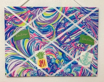 New memo board made with Lilly Pulitzer Guilty Pleasure fabric