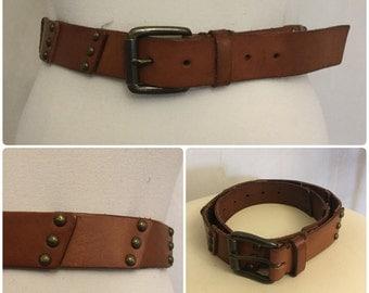 Vintage 60's Belt. Children's Brown Leather Belt.