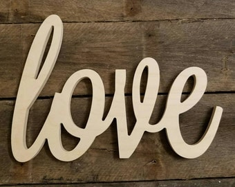 Wooden Letters, wood love sign, Valentine's Day, unpainted wooden wall hanging