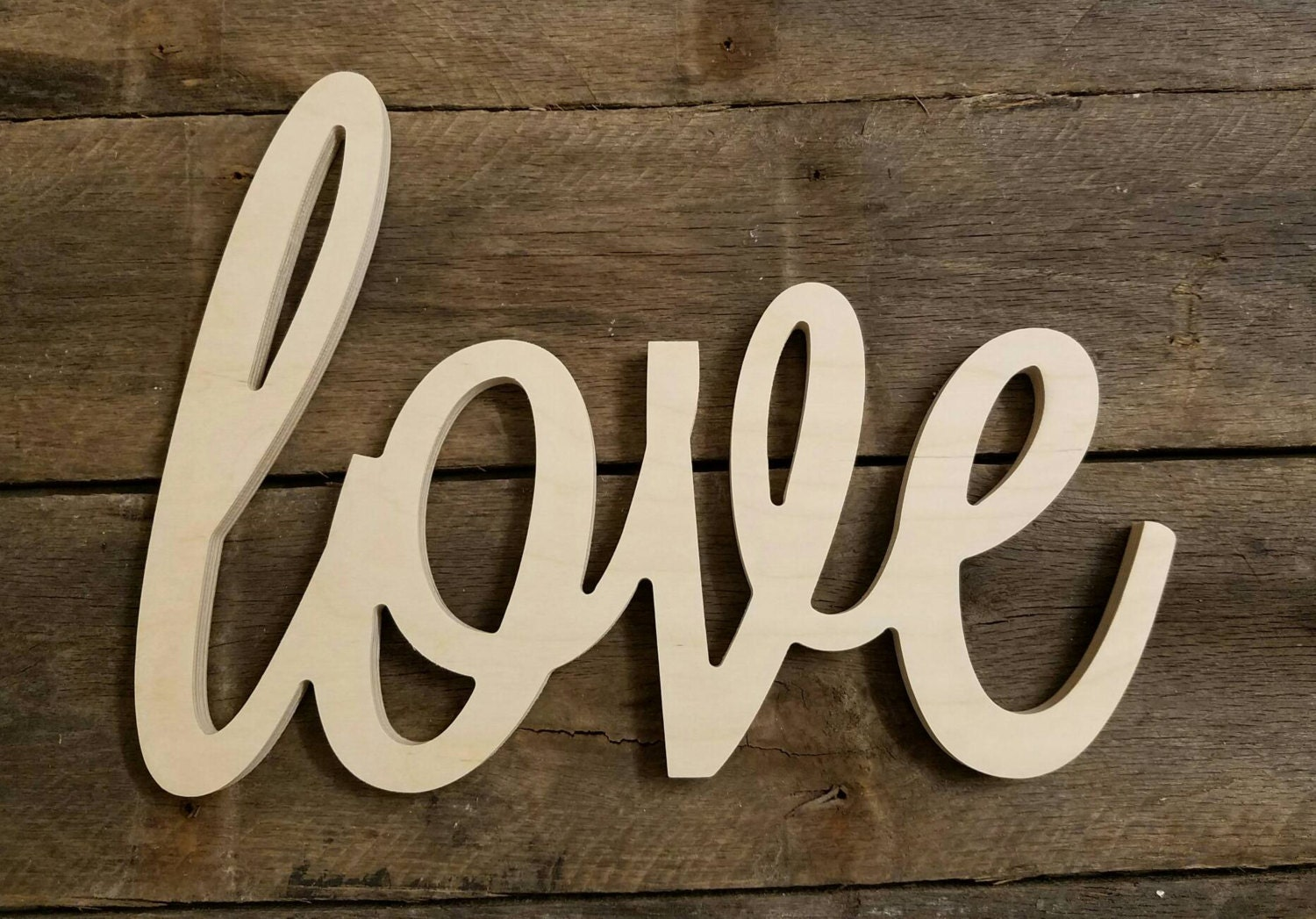 Wooden letters wood love sign valentine 39 s day unpainted for Love sign
