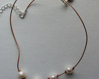 Freshwater pearls and leather choker