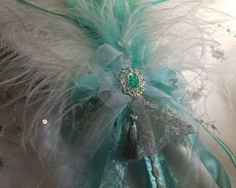 White and Aquamarine Ostrich feather fan bouquet in your choice of sizes