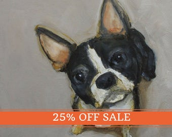 25% OFF SALE!  BOSTON Terrier Dog Puppy Art Colette W. Davis 4x4 Art Giclee print
