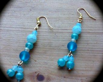 Summer Fun Beach Long Dangle Fashion Earrings for Every Day Wear boho gypsy green  gift spring summer southwestern Aqua pealized beads