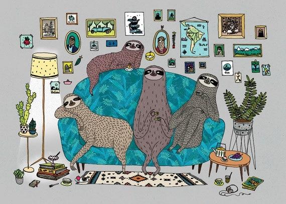 Lazy sloths A3 print - sloth room colour illustration
