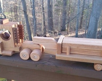 Wooden Handmade toys Tractor Lowboy Trailer with  logs red  oak & Mahogany Heirloom Quality Beautifully  finished  Beeswax