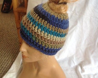 SALE - Beachy Chunky Top knot/Messy Bun Hat