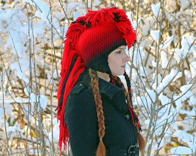 Red to Black Ombre Fade Mohawk Hat Extreme Style