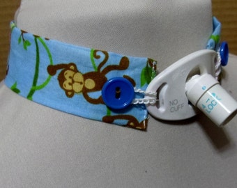 Blue trach tie -monkeys with blue  buttons - custom neck size