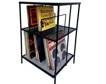 1950s Record Holder Rack Wrought Iron Mid Century Modern