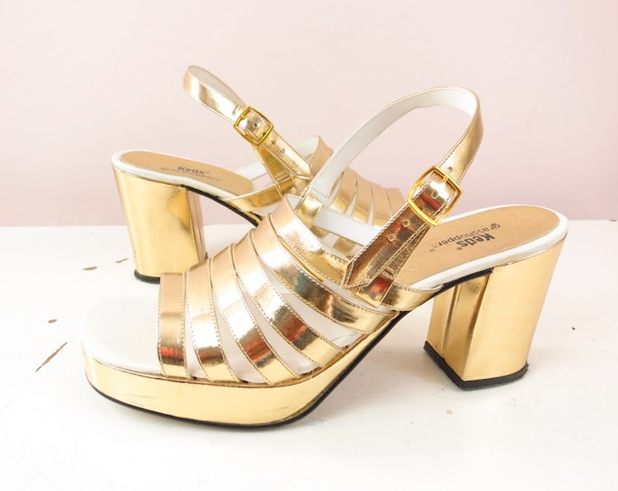1970s Italian Gold Slingback Heels by Keds Size 7
