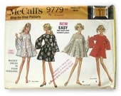 1960s Vintage Sewing Pattern / Misses Mini Dress / Cut from Tablecloth / McCalls 9779 / Bell Sleeves / Size 12 - 14