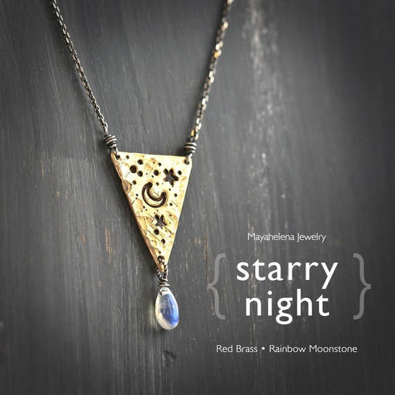 Starry Night in my Heart - Textured Triangle Brass Tag and Moonstone Necklace