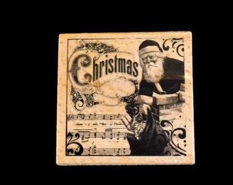 Christmas Stamp, Old Fashioned Stamp, Vintage Look Stamp, Paper Crafts Stamp, Holiday Rubber Stamp, Hot Fudge Studios, St Nick Stamp