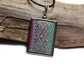 Jewelry Gift for Mom | Colorful Handwoven Pendant Necklace | Wearable Fiber Art | Statement Jewelry Under 50 | Modern Tapestry Jewelry | A56