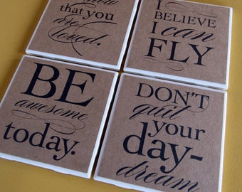 INSIPRATIONAL quotes -  coasters, set of 4