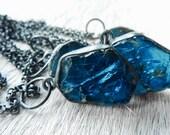 3 DAY SALE Raw apatite necklace | Rough apatite stone necklace | Neon blue apatite necklace | Apatite crystal pendant | Apatite in silver ne