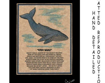 TOTEM WHALE - Totem Animal Print on 5x7 Mat Board - Free Shipping Continental United States