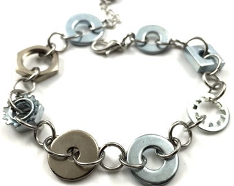 Hardware Chain Bracelet Steampunk Jewelry Industrial Mixed Washer