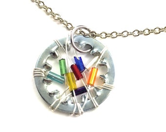 Statement Necklace Pendant Steampunk Wire Wrapped Hardware Jewelry Multi Color Beads