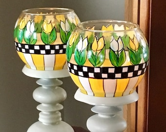 Whimsical Painted Candle Holder, Painted Vase, Tulip Painted Glass vase