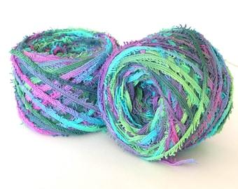 Hand Dyed Cotton Yarn Worsted Weight Tape Fringe Yarn - Mermaid