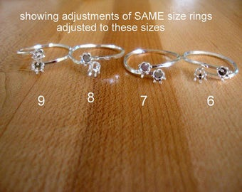 Brandi rings in YGF and in SS - Bypass rings w sq shank w 4mm pw bezel cups