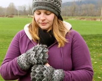 Crochet Dragon Tears Fingerless Gloves and Hat set - crocodile stitch - Women's Gloves - Slouch Hat - Fingerless Gloves - Texting Gloves