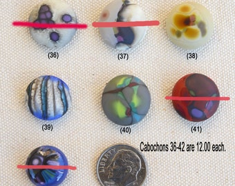 Glass Mini Cabochons #36-42 .... (1) glass CABOCHON handmade organic lampwork jewelry designer cabs SRA
