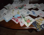 SALE 24 Vintage Ladies Handkerchiefs - Embroidered, one has picot tatted edging - Pretty ones