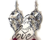 """Antique Silver Hummingbird Pierced Dangle  Earrings, Red Czech Pressed Glass Flower Beads, 2 1/2"""",  Gift for Her"""