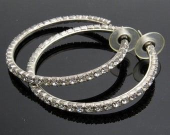 Large Rhinestone Hoop Earrings Vintage Rhinestone Earrings E7664