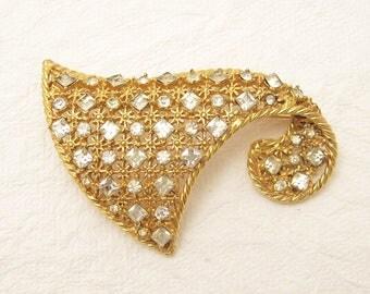 Large Unusual Rhinestone Brooch Hattie Carnegie Vintage Jewelry P5625