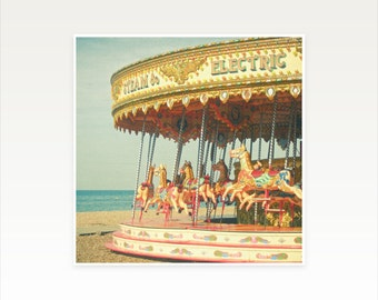 Carousel Nursery Art, Retro Wall Art, Girls Bedroom Art - Seaside Carousel