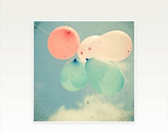 SALE 20% OFF Balloon Photography, Nursery Art, Baby Room, Whimsical Photography, Pastel Colors, Little Girl's Room - Almost Free