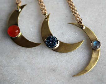 Crescent Moon Pendant, Custom Gemstone Necklace, Celestial Necklace, Custom Celestial, Gold Brass, Silver, Gemstone Moon, Gift for Her