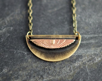 Heraldic Wings Pendant in Distressed Copper & Brass