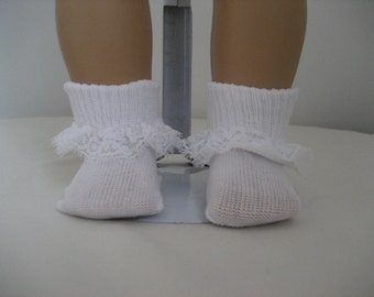 American Doll Accessories-Doll Socks-Made  to fit AMERICAN GIRL DOLLS, White Lace Trimmed Doll Socks Fit American Girl and Bitty Baby Dolls