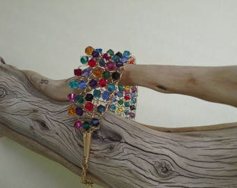 Swarovski Crystal Mixed Bright Colors Knitted Cuff Bracelet or Anklet on 14/20 Gold-filled Wire