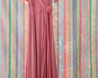 Vintage Gown -  Rose Pink Mauve Pleated 70s 80s