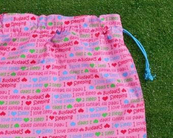 Kindy sheet or pyjama bag, I love sleep pink drawstring bag, girls overnight bag
