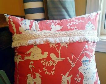 18 x 18 Pillow Cover with Insert- Decorative Pillow- Throw Pillow- Asian Pillow