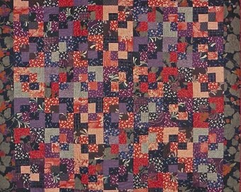 Patchwork Quilt - red, purple and navy Japanese Eclipse throw