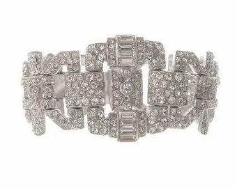 Antique Art Deco KTF Bracelet, Trifari KTF Designer Jewelry, 1930s Vintage Statement Jewelry, Wide Rhinestone Cuff, Deco Jewellery